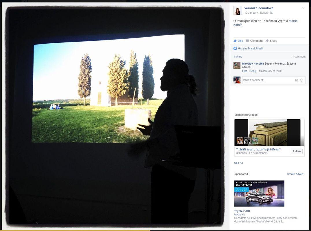 Vyprávění a prezentace fotografií Martina Kamína z fotoexpedic do Toskánska