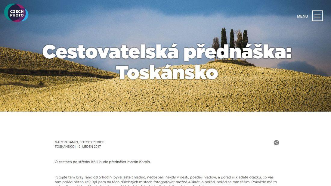 Promítání fotografií a povídání o fotoexpedicích do Toskánska , fotoexpedice Martin Kamín